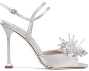Miu Miu Crystal-embellished Satin Sandals - Silver