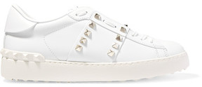 Valentino Rockstud Untitled Leather Sneakers - White