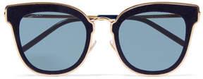 Jimmy Choo Nile Cat-eye Glittered Suede And Gold-tone Sunglasses - Blue
