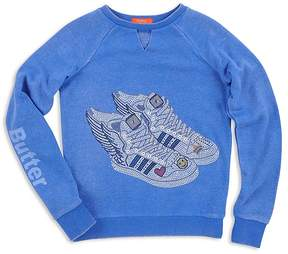 Butter Shoes Girls' Sparkle Fleet Feet Embellished Sweatshirt - Big Kid