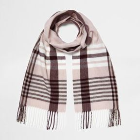 River Island Womens Pink and oxblood check scarf