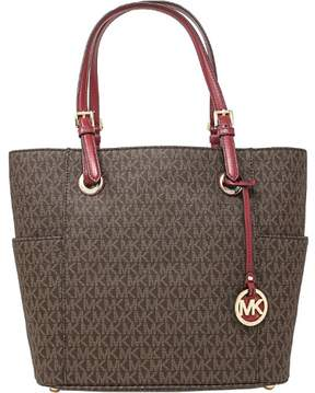 Michael Kors Women's Jet Set East West Signature Bag Leather Top-Handle Tote - Brown / Mulberry - BROWN / MULBERRY - STYLE