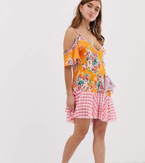 Jaded London Petite Mix Print Layered Mini Dress