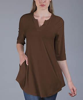 Azalea Brown Side-Pocket Notch Neck Tunic - Women & Plus