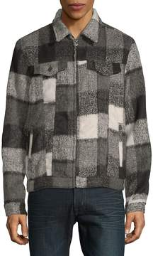 Cult of Individuality Men's Plaid Wool-Blend Grunge Jacket