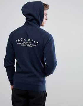 Jack Wills Ederton Zip Through Hoodie With Back Print In Navy