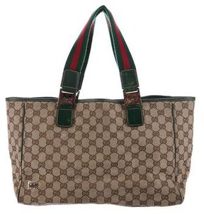 Gucci GG Canvas Web Tote - BROWN - STYLE