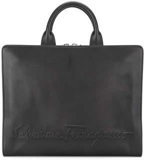 Salvatore Ferragamo embossed logo briefcase