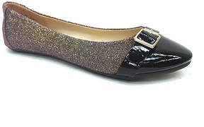 Bamboo Red Glitter Buckle Clore Flat - Women