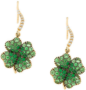 Aurelie Bidermann Signature Clover tsavorite and diamond earrings