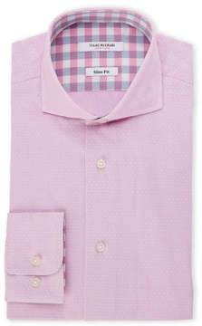 Isaac Mizrahi Pink Dobby Dot Slim Fit Dress Shirt