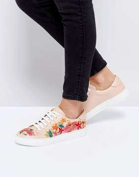 Dune London Eternall Floral Blush Leather Sneakers