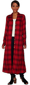 C. Wonder Plaid Button Front Long Sleeve Duster