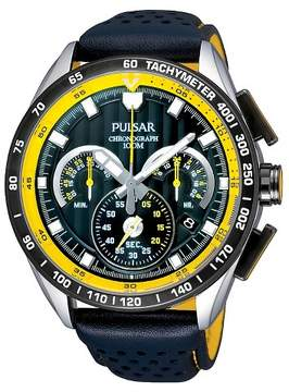 Pulsar Men's Chronograph Watch - Black Leather Strap - PU2007