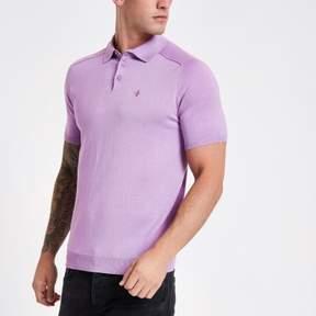 River Island Mens Lilac slim fit wasp knit polo shirt