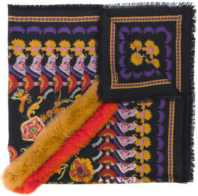 Etro fox fur trim paisley scarf