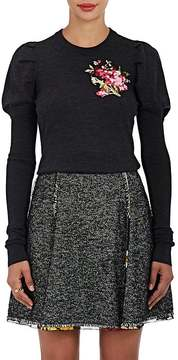 Dolce & Gabbana Women's Embroidered Wool Puff-Sleeve Sweater