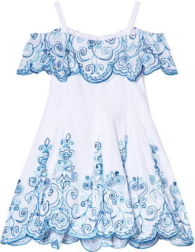 Kate Mack Biscotti White and Blue Embroidered Dress