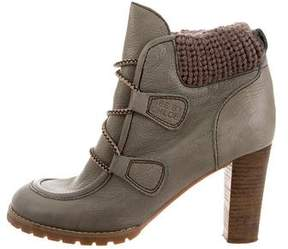 See by Chloe Knit-Trimmed Ankle Boots
