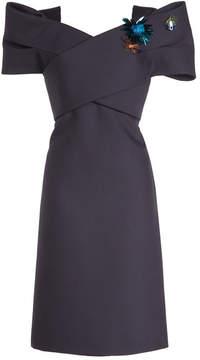 DELPOZO Embellished Off-Shoulder Dress in Wool and Silk