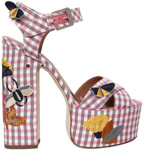 Laurence Dacade 150mm Rosella Gingham Cotton Sandals