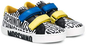 Moschino Kids logo print touch-strap sneakers