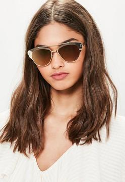 Missguided Gold T-Bar Metal Frame Sunglasses