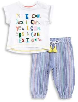 ED Ellen Degeneres Baby Girls' Two-Piece Slogan Tee and Striped Pants Set