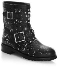 Jimmy Choo Youth Studded Leather Biker Boots