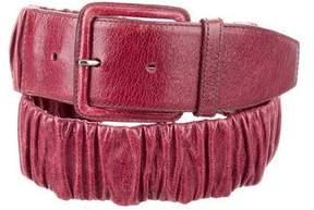 Miu Miu Ruched Leather Waist Belt