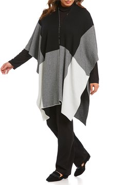 Allison Daley Plus Colorblock Open Front Poncho