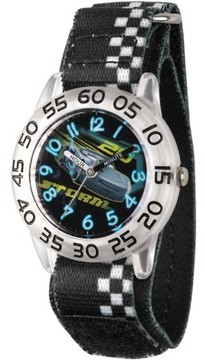 Disney 3 Jackson Storm Boys' Clear Plastic Time Teacher Watch, Black Hook and Loop Nylon Strap with White Plaid Printing