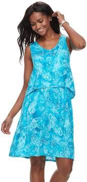 Caribbean Joe Women's Tropical Print Popover Dress