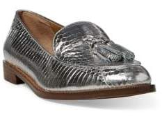 Lauren Ralph Lauren Brindy Metallic Leather Croc-Embossed Loafers