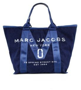 Marc Jacobs Logo Printed Tote - DENIM - STYLE