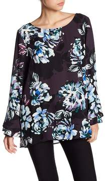 Chaus Long Tiered Sleeve Print Blouse