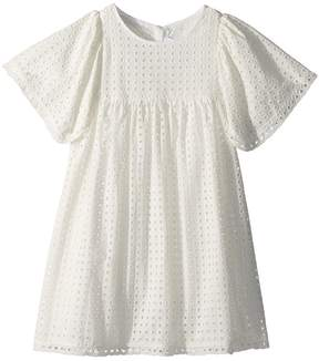 Chloé Kids French Embroideries Short Sleeve Dress Girl's Dress