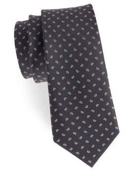 Black & Brown Black Brown Embroidered Silk Tie