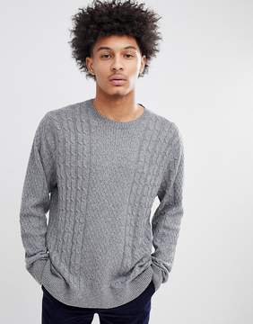 Abercrombie & Fitch Crew Neck Sweater Cable Knit in Dark Gray