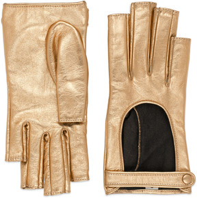 Gucci Metallic leather fingerless gloves