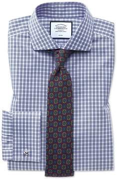 Charles Tyrwhitt Slim Fit Non-Iron Twill Gingham Blue Cotton Dress Shirt Single Cuff Size 14.5/32