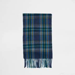 River Island Mens Blue plaid check tassel scarf