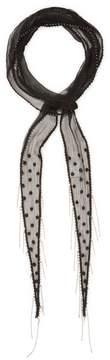 Chan Luu Women's Polka Dot Embroidered Skinny Scarf