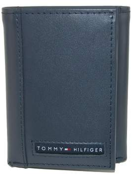 Tommy Hilfiger Men's Leather Cambridge Trifold Wallet, Navy