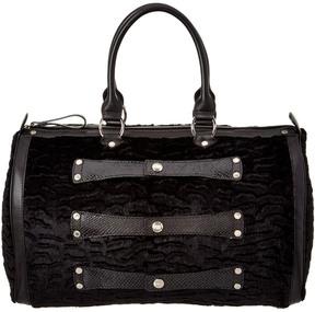 Longchamp Velvet & Leather Bowler - BLACK - STYLE