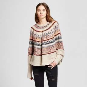 Cliche Women's Printed Poncho Sweater Cream