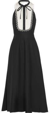 Temperley London Fountain Lace-trimmed Cotton-poplin Midi Dress - Black