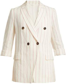 Brunello Cucinelli Double-breasted pinstriped linen jacket