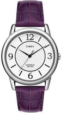 Timex T2N690 Women's Elevated Classics Purple Crocodile Leather Watch