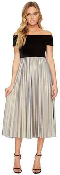 Donna Morgan Off Shoulder Midi Dress with Velvet Top and Pleated Jersey Skirt Women's Dress